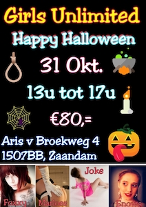 Gangbang Girls Unlimited Halloween edition op dinsdag 31 oktober 2017 in sexclub Baccara te Zaandam