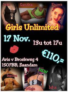 Gangbang Girls Unlimited is dit keer mega. Extra veel dames! Kom genieten op vrijdag 17 november 2017 in sexclub Baccara Zaandam